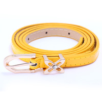 Women's belt female all-match candy color thin belt decoration butterfly buckle belt