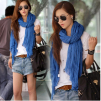 Autumn and winter solid color all-match long ultra fluid pleated scarf cape dual Women silk scarf