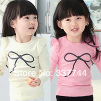 New 2014 Girl t-shirts, cotton long sleeve children t shirts, cute necktie cartoon t-shirt, candy color bottoming t shirt