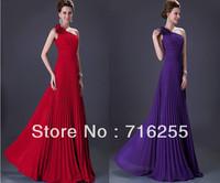 Cheap Hot Flowers One Shoulder Floor Length Chiffon Bridesmaid Dresses SZ6+8+10+12+14+16