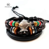 2014 New Fashion Jewelry Manual Charm Genuine Leather Bracelet with Braided rope Unisex for Men & Women Vintage Style Bracelets