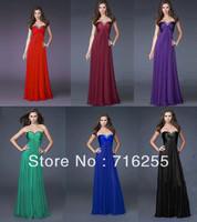Cheap Hot Sale Sweetheart Floor Length Beaded Chiffon Long Bridesmaid Dresses SZ6+8+10+12+14+16