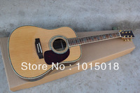Free shipping acoustic Guitar, solid spruce top, flower fingerboard,45 acoustic Dreadnought guitar, natural xiehong