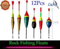 New 6 Types 12Pcs Rock Fishing Floats Balsa Wood Ocean Rock Buoy Fshing Vertical Float+Free Gift