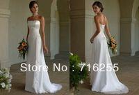 Simple Strapless Applique Chiffon A-Line Wedding Dresses Bridal Gowns White/Ivory SZ 6+8+10+12+14+16
