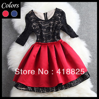 2014 early spring women's dresses red blue pleated ball gown black lace top half sleeve fashion vintage cute brand mini dress