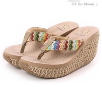 2014 bohemia elegant women platform wedges flip flops sandals / sexy platform women beach slippers soft boat sandals slippers