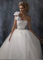 New arrival 2014  wedding  quality fashion bride married princess one shoulder white wedding dress