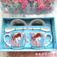 Ceramic cup spoon set cartoon lovers milk cup mug gift birthday gift