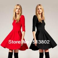 Vestidos new 2014 brand high street winter  women long sleeve o neck knee-length vintage  party dresses cute   dress
