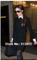Vestidos 2014 New Autumn Winter Women's High Fashion Beautiful One Piece Black Dresses Victoria SFAD015  dress