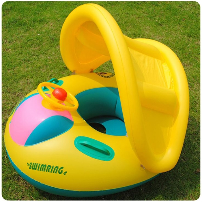 Inflatable Toddler Baby Swim Ring Float Seat Swimming Pool Seat with Canopy(China (Mainland))