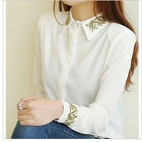 Autumn female fashion gold thread embroidery turn-down collar chiffon shirt female shirt women's basic shirt camisas polo