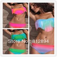 Big Discount Free Shipping!Sexy Women Padded Boho Fringe Tassel Top Straight Neck Bikini Halter fringe Swimwear Suit Beach Wear