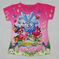 2014 New Summer Russia Cartoon T-shirts print garfield cat love pink  girls shirts girl blouses Baby Clothes shirt for kids