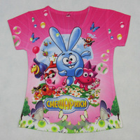 2014 New Summer Russia Cartoon T-shirts print garfield cat love pink  girls shirts girl blouses Baby Clothes shirt for kids