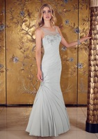 Beads Spaghetti Straps PLeated Light Gray Mermaid Mother Of the Bride Dress