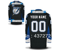 Tampa bay lightning blank customized men's ice hockey jersey put your name and number hockey shirt epacket free shiping