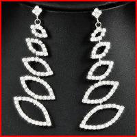 (47% off on wholesale) 2014 New Crystal Long Tassel Earrings Rhinestone Zircon Earrings Free Shipping E9