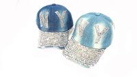 Free shpping 2013 New Summer hat women's baseball cap denim rhinestone water wash retro finishing cap N Y letter baseball cap