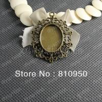 wholesale 40PCS/LOT inner:18x25mm   Antique Bronze Vintage Cameo Pendant Bases Setting DIY Cabochon jewelry accessories