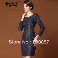 2014 spring women commuter Slim Neck Sleeve Lace Dress New Elegant banquet free shipping