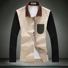 Moda 2014 100% algodão plus size moda casual masculino camisa de manga comprida camisa de marca(China (Mainland))