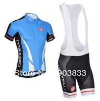 2014 New Arrival  Castelli Team Cycling Short Sleeves Jersey+Bib Shorts/Cycling Wear Bike Sets Blue Jersey