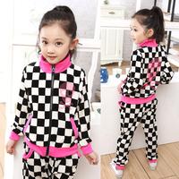 2013 autumn male female child velvet sports set checkerboard palid sweatshirt sportswear casual set