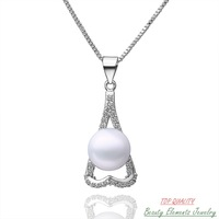 Real Freshwater White Pearl Pendant Necklace with Chain, Platinum Gold Plated Jewelry Made With Swarovski Austrian Crystal 22