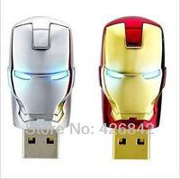 Wholesale Sale Flawless Avengers Iron Man LED Flash 4GB 8GB 16GB 32GB 64GB USB Flash 2.0 Memory Drive Stick Pen/ThumbCar