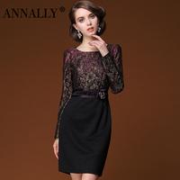 2014 spring women commuter Slim round neck lace dress free shipping new elegant banquet