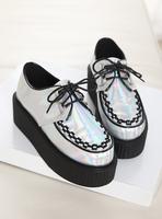 Harajuku shoes vivi magazine silver platform shoes spring and autumn single shoes