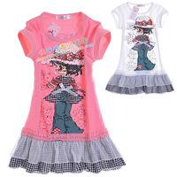 Child dress female child summer Dress 2014 summer autumn one-piece dress children's clothing 6612