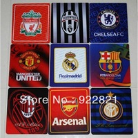 Hot sale! Free shipping football fan square rubber mouse pad with big european clubs' team logo,famous clubs fan souvenirs