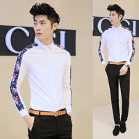 2014 spring new arrival MEN'S SHIRT fashion patchwork long-sleeve shirt men slim FIT flower prints brand male shirt 202-cs06