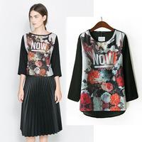 Hot sale 2014  za*Blouses plus size Blusa Cotton Shirt Women Dresses Vintage crochet  Autumn -Summer Free Shipping