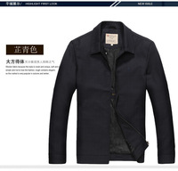Black Quality Jacket for Mature Men New 2014 Fashion #WQ40,Free Shipping Winter Spring Casual Wool Business Coat Outdoor jaqueta