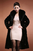 2014  faux mink fur rabbite fur thickening fur coat long Women overcoat fox fur collar coat outerwear coats free shipping