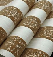 Stripe  Damask Velvet Flocking Non-woven Wallpaper Roll Living Room Brown Grey