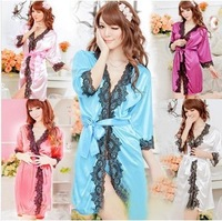 2014 Sexy Lingerie Satin Nighty Gown Robe Long Sleeves Mini Dress Sleepwear New sexy costumes  Ladies Sexy Lingerie