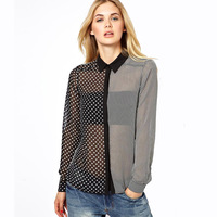 Black-and-white patchwork small polka strips dot asymmetrical long-sleeve shirt female haoduoyi