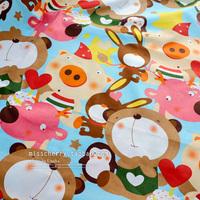 handicraft material Xw008 cartoon pig rabbit penguin slanting 100% stripe cotton cloth bedding handmade diy  handmade accessory