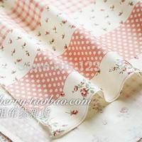 handicraft material Soft xw040a powder color polka dot patchwork - slanting 100% stripe cotton cloth  handcraft accessory diy