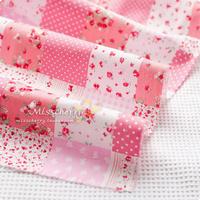 handicraft material Rd072a Pink square grid patchwork poplin handmade fabric clothes fabric diy  needlework