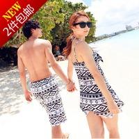 beach wear 2014 black-and-white rhombus lovers beach set bikini 2 piece set swimwear steel beach dress beach pants  swimwear