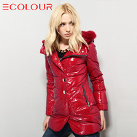 Sauteeded women's winter new arrival fashion beautiful glossy with a hood fur collar slim thermal medium down coat