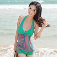 beach wear Dot skirt one-piece swimsuit female hot spring small  swimwear