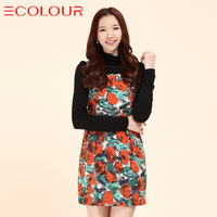 Sauteeded women's autumn ruffle hem turtleneck print long-sleeve dress bud skirt