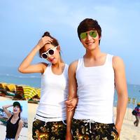 beach wear Lovers beach vest tank cotton solid color slim basic  swimwear